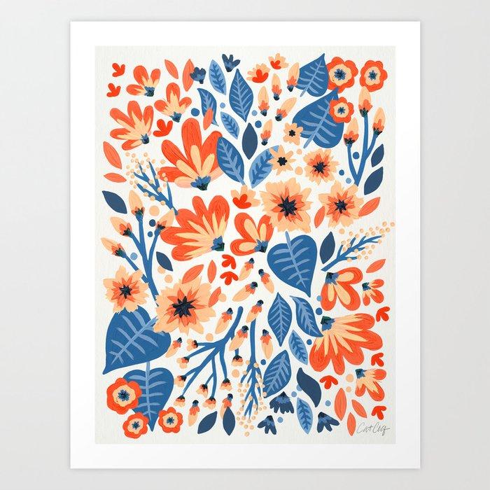 Mixed Florals - Peach & Blue Palette Art Print