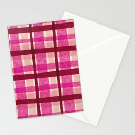 Tissue Paper Plaid - Pink Stationery Cards