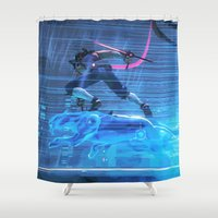 panther Shower Curtains featuring Panther Ride by VGPrints