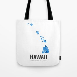 Hawaii - State Map Art - Abstract Map - Blue Tote Bag