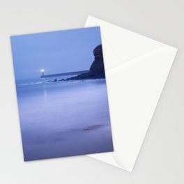 North Pier Lighthouse at dusk from Sharpness Point. Tynemouth, Northumberland, UK Stationery Cards