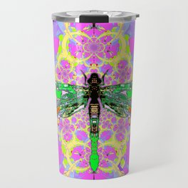 Emerald Green Dragonfly Pink Abstract Travel Mug