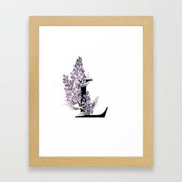 Letter 'L' Lilac Flower Typography Framed Art Print