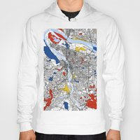 portland Hoodies featuring Portland map by Mondrian Maps