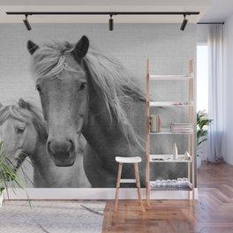 Horses - Black & White Wall Mural