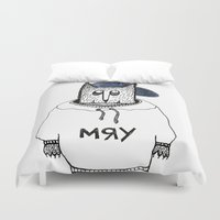 russian Duvet Covers featuring Russian cat by KRADA ZHAN ART