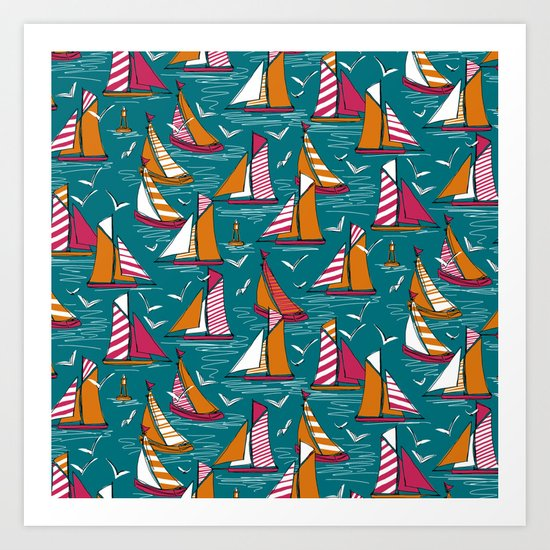 seagulls and sails bold Art Print