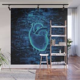 Gamer Heart BLUE TECH / 3D render of mechanical heart Wall Mural