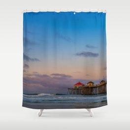 Pastel Sunrise at Huntington Beach Pier Shower Curtain