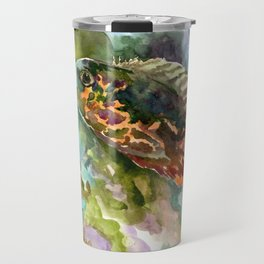 Oscar Fish, Aquarium Art, turquoise blue olive green fish underwater scene Travel Mug