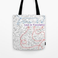 lost in translation Tote Bags featuring Lost in Translation by Zuno