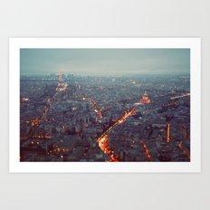 Blue Hour in Paris. Art Print