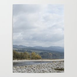 Landscape with the Białka river and the Pieniny Mountains, Poland Poster