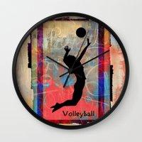 volleyball Wall Clocks featuring Volleyball Girl by beeczarcardsandgifts