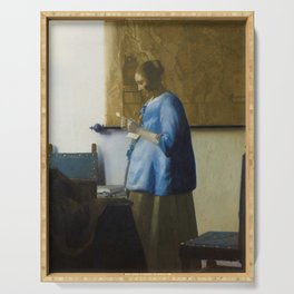 Woman Reading a Letter Serving Tray