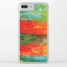 Painting, Modern Art contemporary. red blue yellow green burgundy beige gradient, gouache acrylic Clear iPhone Case