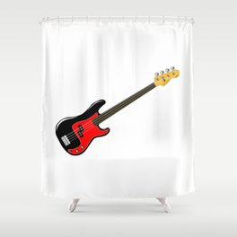Fretless Bass Guitar Shower Curtain