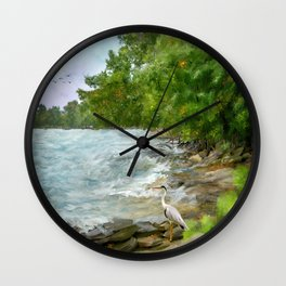 On the Shores of Lake Erie Wall Clock