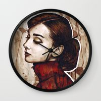 audrey hepburn Wall Clocks featuring Audrey Hepburn by Olechka