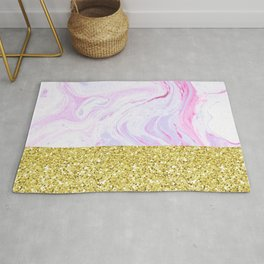 Gold Dipped Cotton Candy Marble Rug