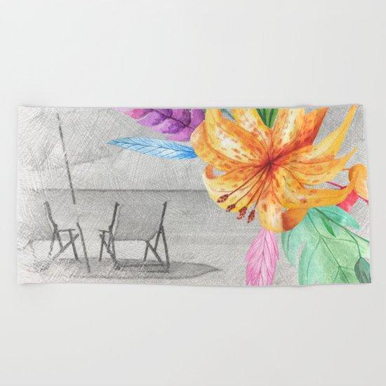 Tropical beach #3 Beach Towel