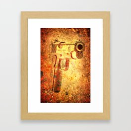 M1911 Muzzle On Rusted Background 3/4 View Framed Art Print