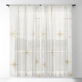 Seamless Pattern Glamorous White Gold Art Deco Stars Constellations Minimalist Geometric Pattern Sheer Curtain