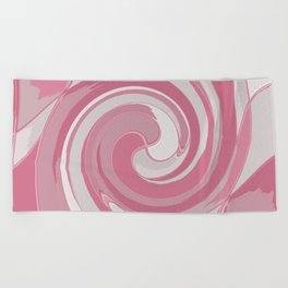 Spiral in Pink and White Beach Towel