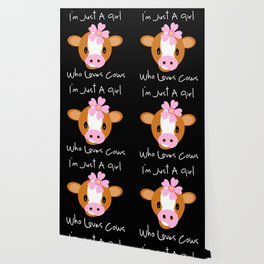 Calf Cow Pink Flower Cute Girl Gift Wallpaper
