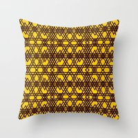 yellow pattern Throw Pillows featuring yellow pattern by dedoma