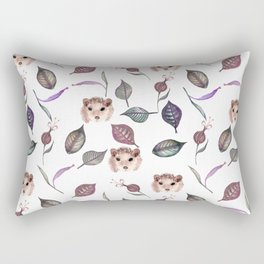 Autumn hedgehogs and leaves pattern Rectangular Pillow