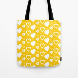 Handdrawn Hearts (Yellow/White): an exciting, fresh, fun pattern to light up your day Tote Bag
