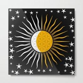 Lunar-Sol Flower Of Life Sun Moon & Stars Black White Yellow Metal Print