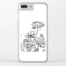 black and white peonies 2 Clear iPhone Case