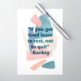 inspirational Banksy quote on pastel abstract Wrapping Paper