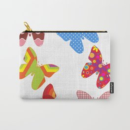Pink and Blue Butterfly Pattern on White Background Carry-All Pouch