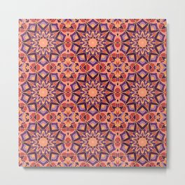 Mandala Kaleidoscope Pattern, Sunset Colors Metal Print