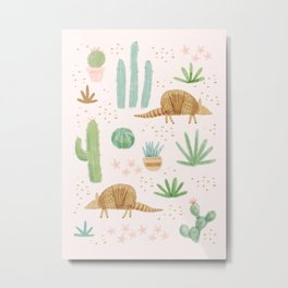 Armadillos in the Desert - Watercolor Metal Print