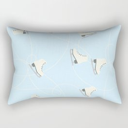 Ice Skating on Ice Blue Background Rectangular Pillow