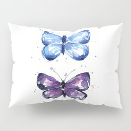 Butterflies Watercolor Blue and Purple Butterfly Pillow Sham