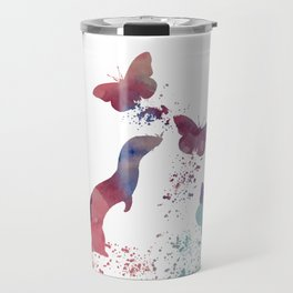 Ferret and butterflies Travel Mug