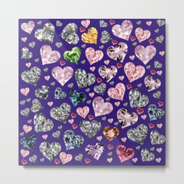 Heart Diamonds are Forever Love Violet Metal Print