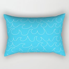 Simple white handrawn waves on aqua - for your summer on #Society6 Rectangular Pillow