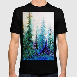 Mountain Landscape Pines In Blue-Greens-Purple T-shirt