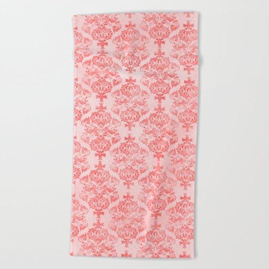 Vintage Retro Damask Watercolor Pattern Pastel Pink Beach Towel