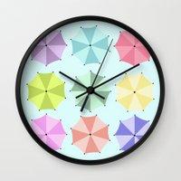 umbrella Wall Clocks featuring Umbrella by Melis Kalpakçıoğlu