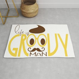 Typography Print Life is Groovy Man Hipster Eyeglasses Mustache Rug