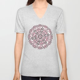 Magical Mandala in Monochrome + Pink Unisex V-Neck