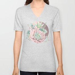 Pink Succulents Rose Gold Sun Blush Pink Unisex V-Neck