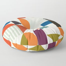 mid century retro shapes geometric Floor Pillow